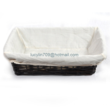 Savannah Large Rectangular wicket Tray with Cloth Liner wilow basket